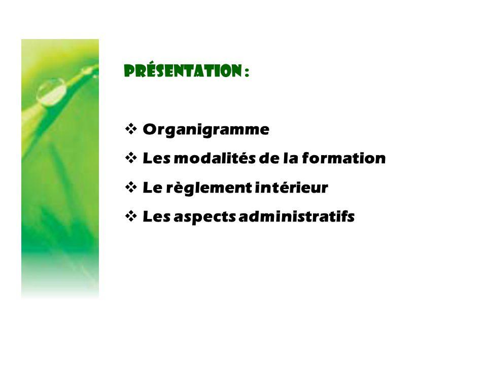 Présentation : Organigramme. Les modalités de la formation.