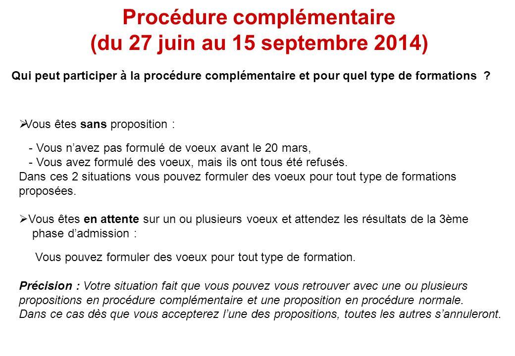 Procédure complémentaire (du 27 juin au 15 septembre 2014)