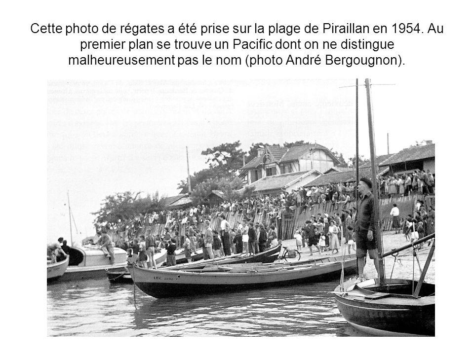 Cette photo de régates a été prise sur la plage de Piraillan en 1954