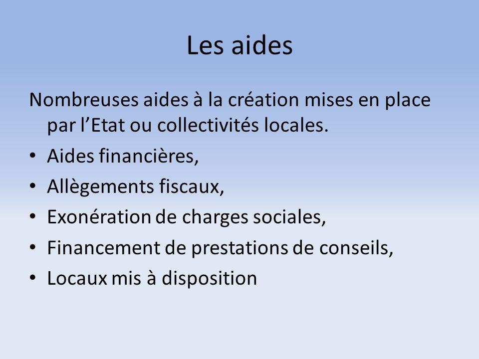 Les aides Nombreuses aides à la création mises en place par l'Etat ou collectivités locales. Aides financières,