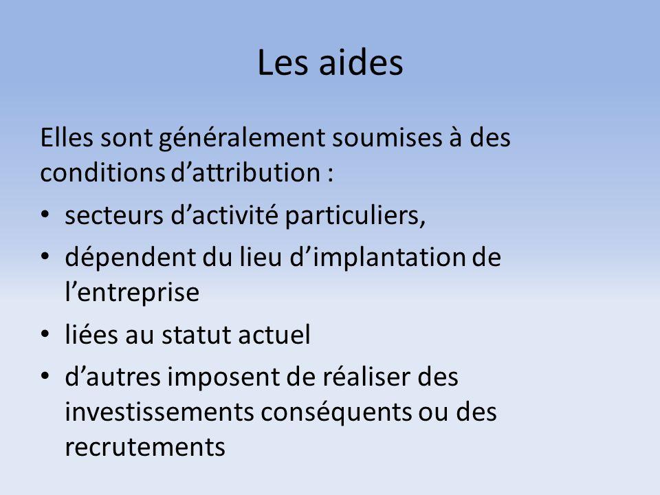 Les aides Elles sont généralement soumises à des conditions d'attribution : secteurs d'activité particuliers,
