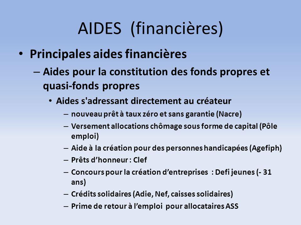 AIDES (financières) Principales aides financières
