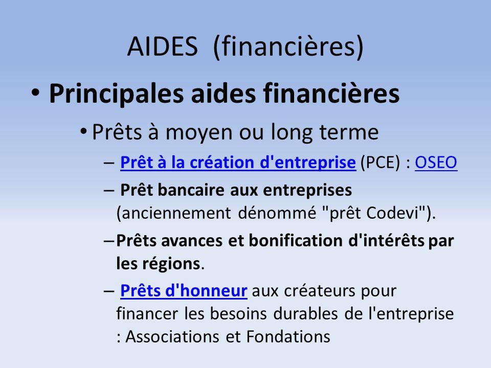 Principales aides financières
