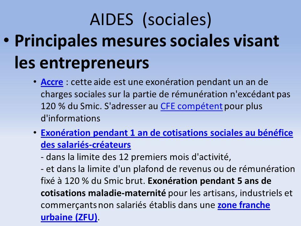 Principales mesures sociales visant les entrepreneurs