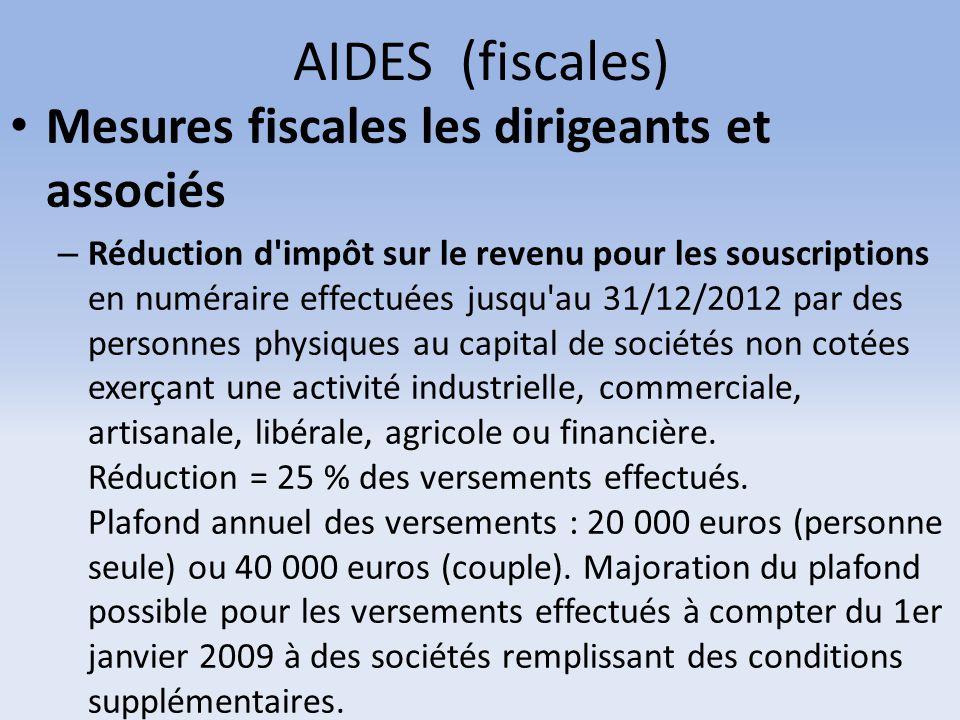 AIDES (fiscales) Mesures fiscales les dirigeants et associés