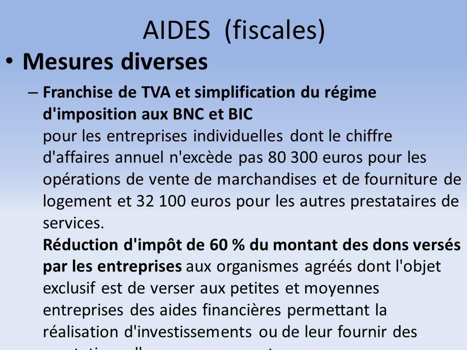 AIDES (fiscales) Mesures diverses