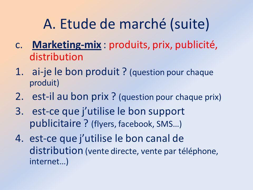 A. Etude de marché (suite)