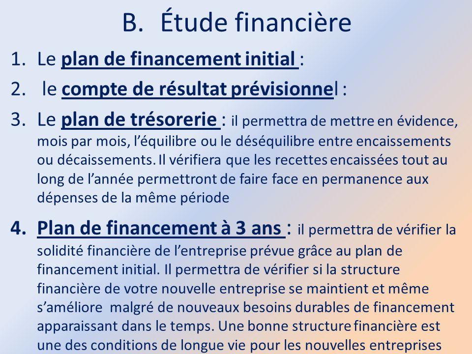 Étude financière Le plan de financement initial :