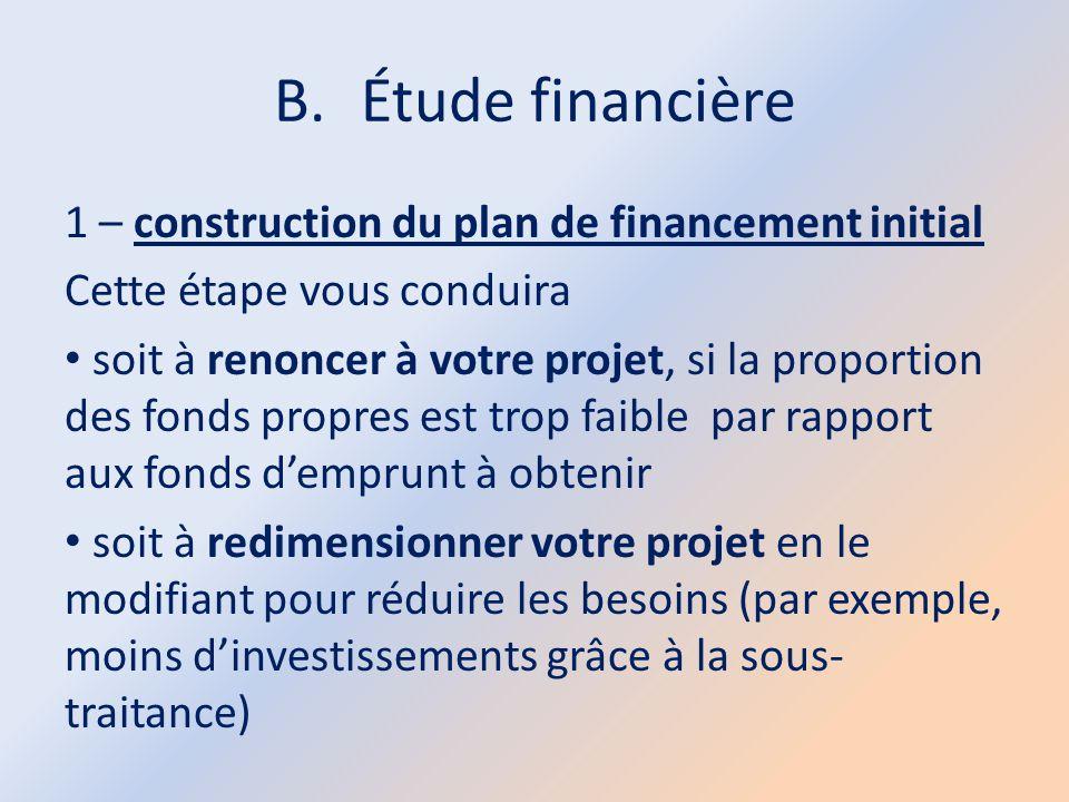 Étude financière 1 – construction du plan de financement initial