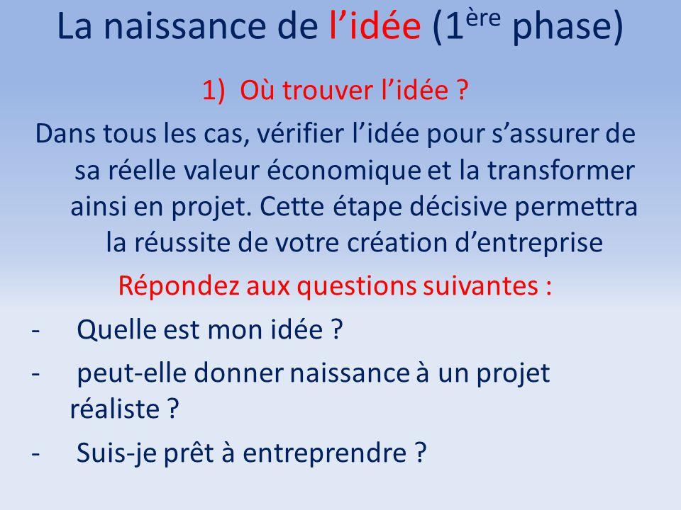 La naissance de l'idée (1ère phase)