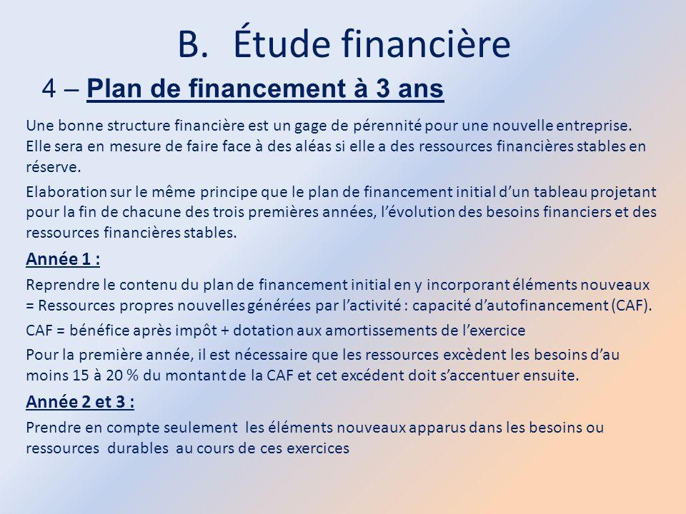 Étude financière 4 – Plan de financement à 3 ans Année 1 :