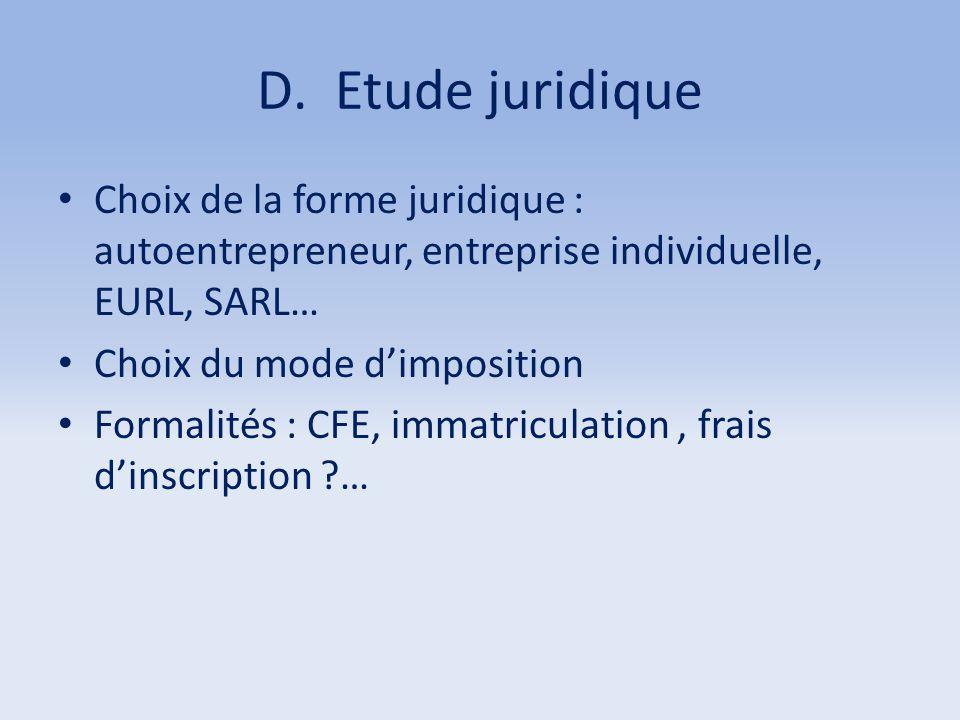 Etude juridique Choix de la forme juridique : autoentrepreneur, entreprise individuelle, EURL, SARL…