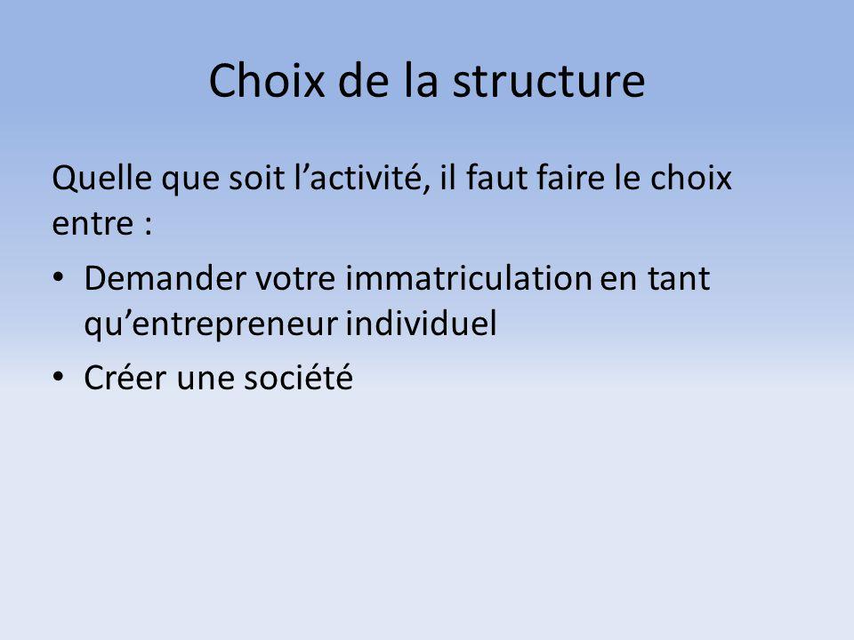 Choix de la structure Quelle que soit l'activité, il faut faire le choix entre : Demander votre immatriculation en tant qu'entrepreneur individuel.