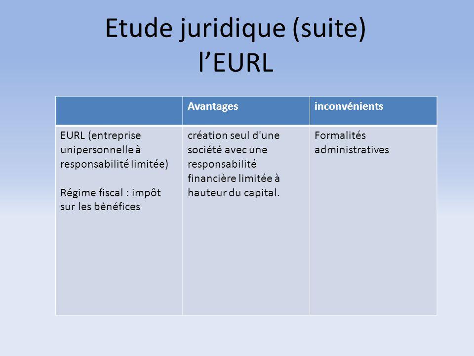 Etude juridique (suite) l'EURL