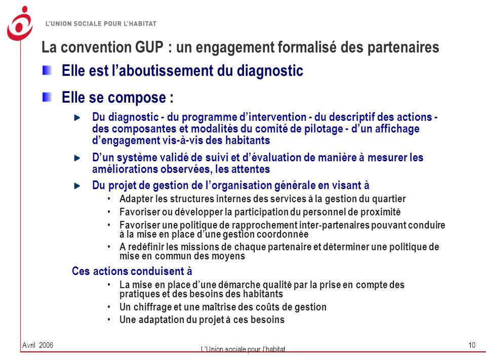 La convention GUP : un engagement formalisé des partenaires