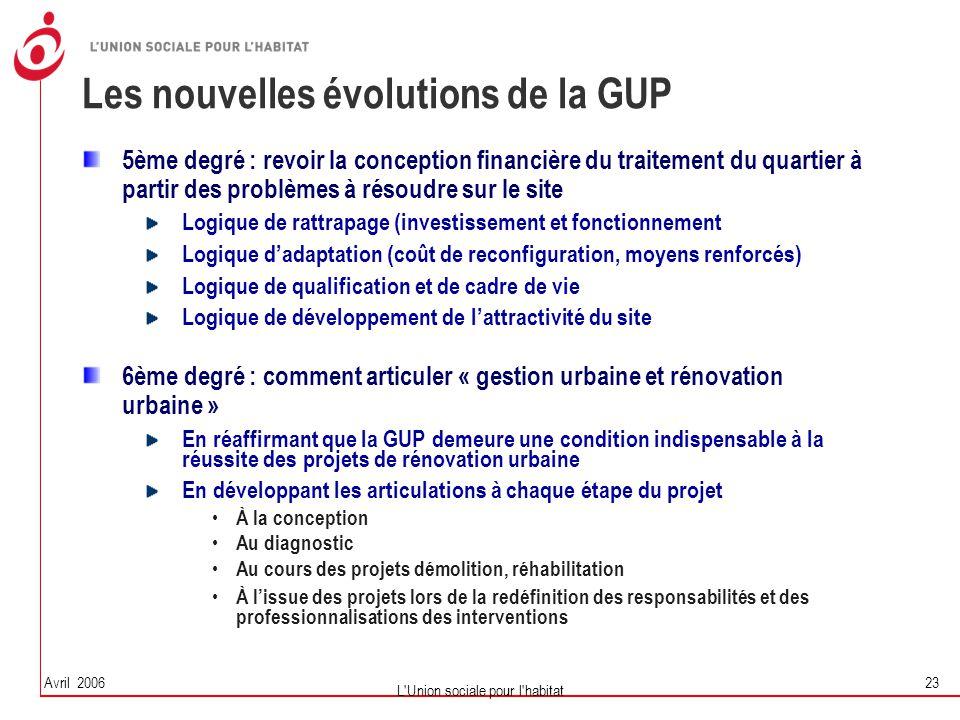 Les nouvelles évolutions de la GUP