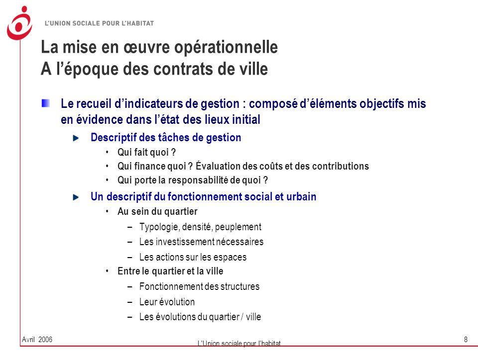La mise en œuvre opérationnelle A l'époque des contrats de ville