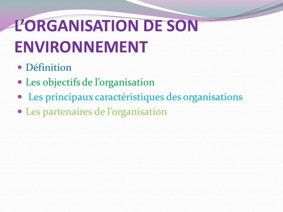 L'ORGANISATION DE SON ENVIRONNEMENT
