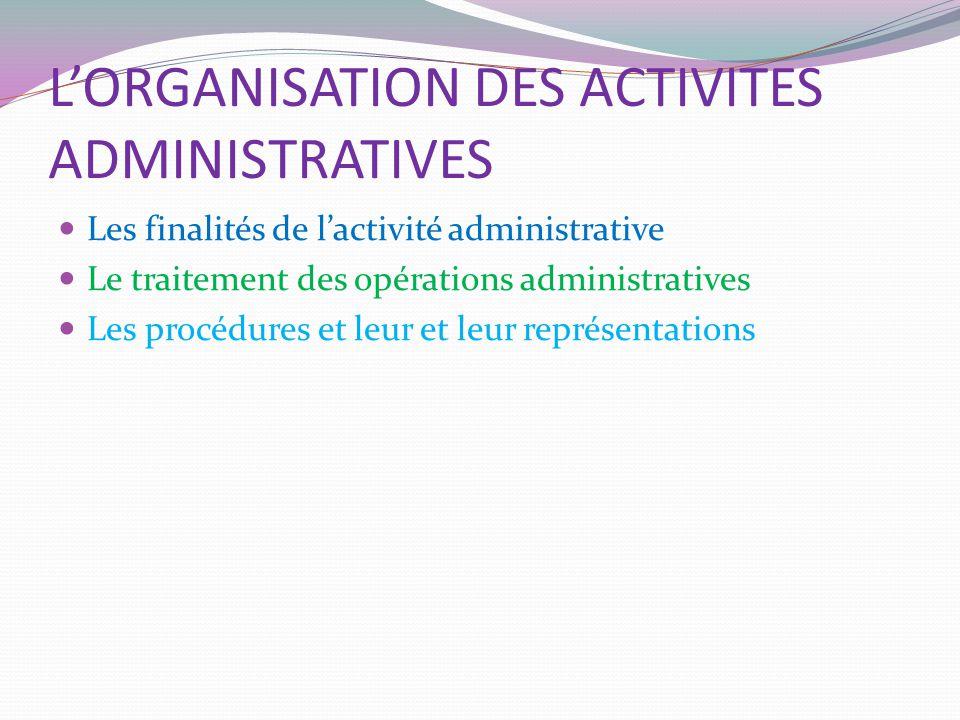 L'ORGANISATION DES ACTIVITES ADMINISTRATIVES