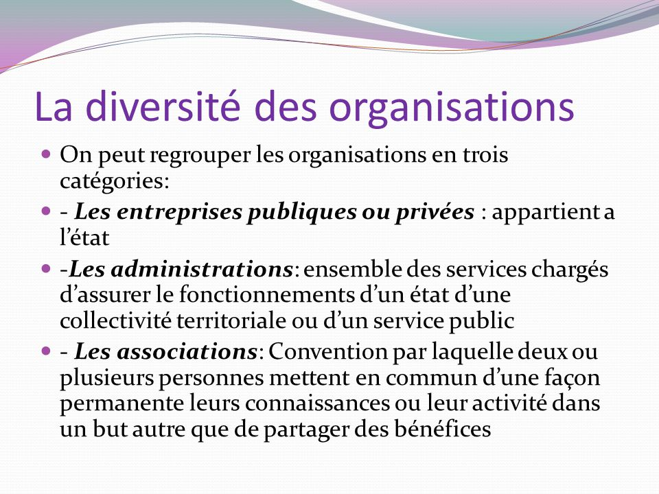 La diversité des organisations