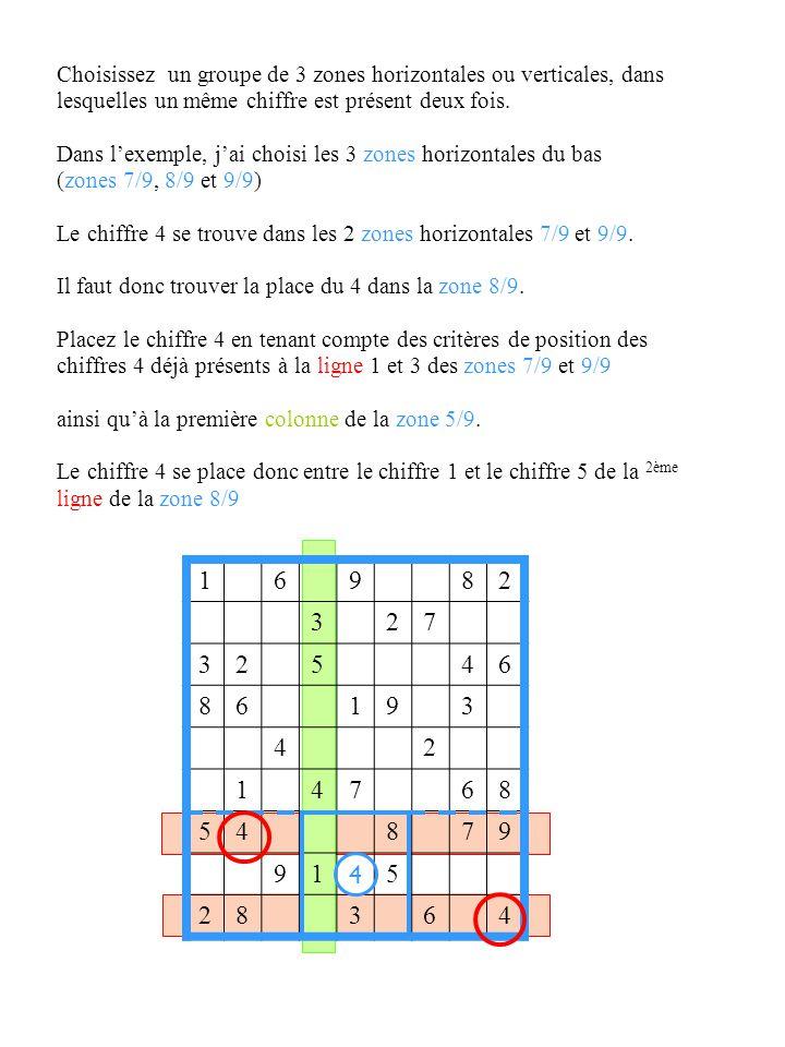 Choisissez un groupe de 3 zones horizontales ou verticales, dans lesquelles un même chiffre est présent deux fois.