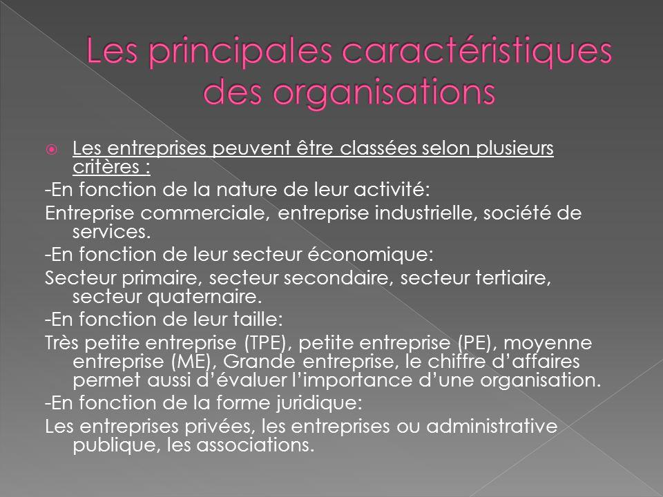 Les principales caractéristiques des organisations
