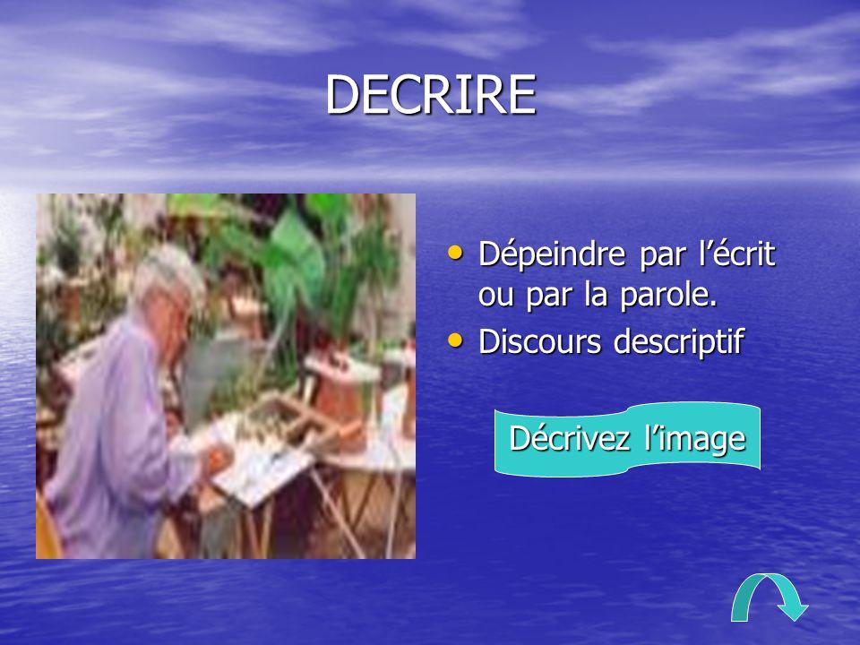 DECRIRE Dépeindre par l'écrit ou par la parole. Discours descriptif