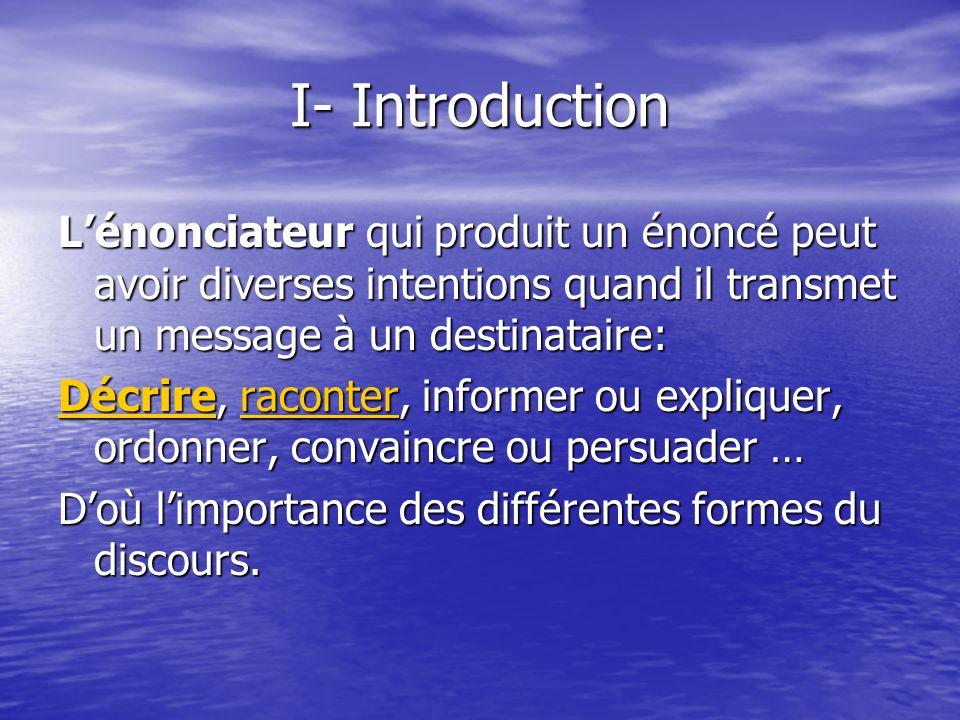 I- Introduction L'énonciateur qui produit un énoncé peut avoir diverses intentions quand il transmet un message à un destinataire: