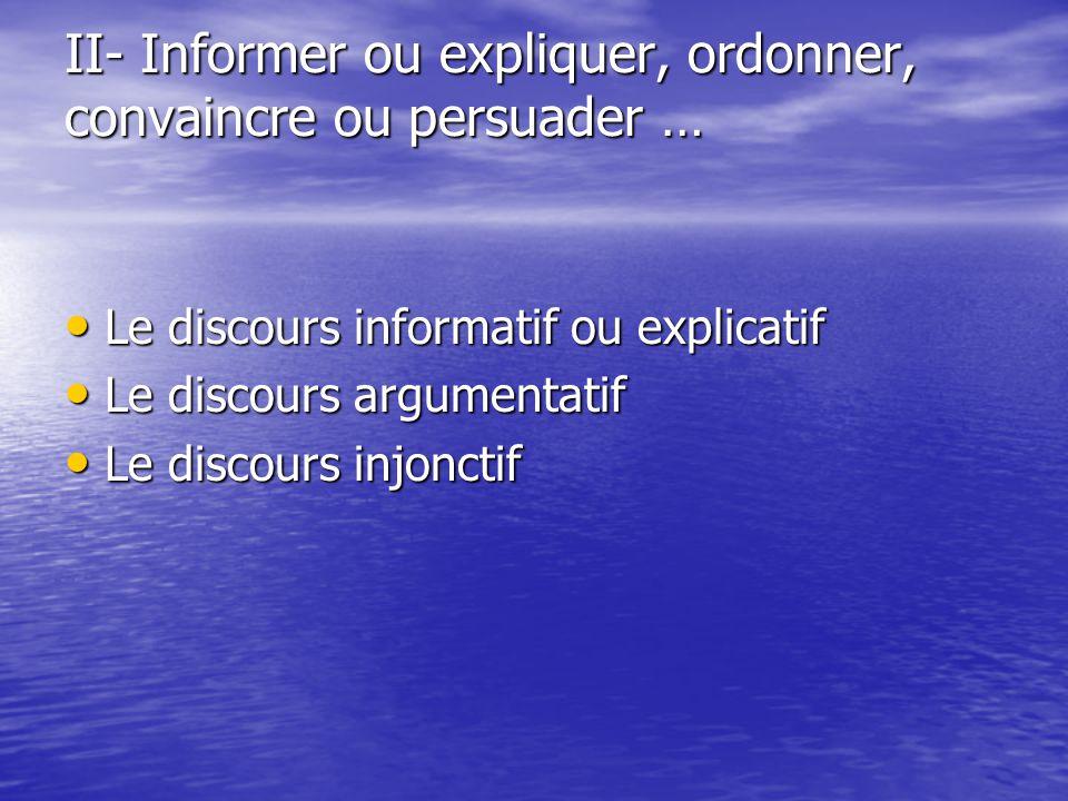 II- Informer ou expliquer, ordonner, convaincre ou persuader …