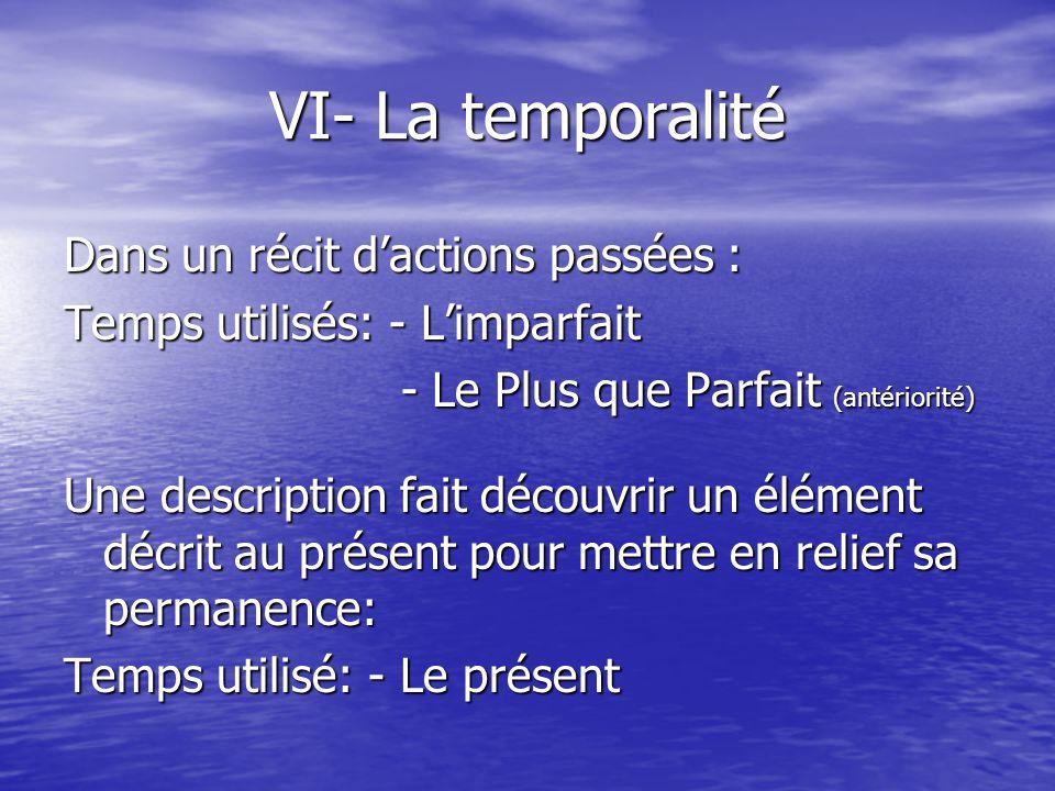 VI- La temporalité Dans un récit d'actions passées :