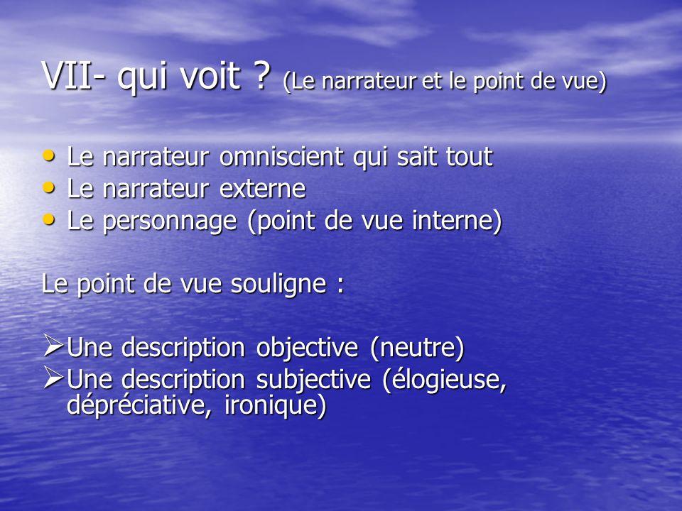 VII- qui voit (Le narrateur et le point de vue)