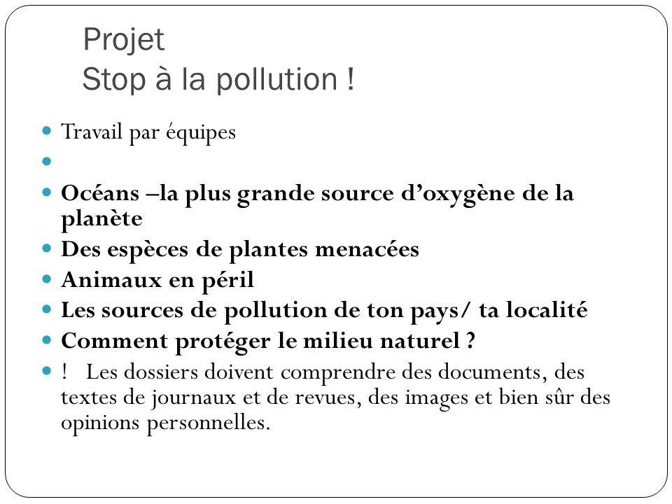Projet Stop à la pollution !