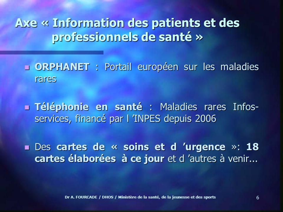 Axe « Information des patients et des professionnels de santé »