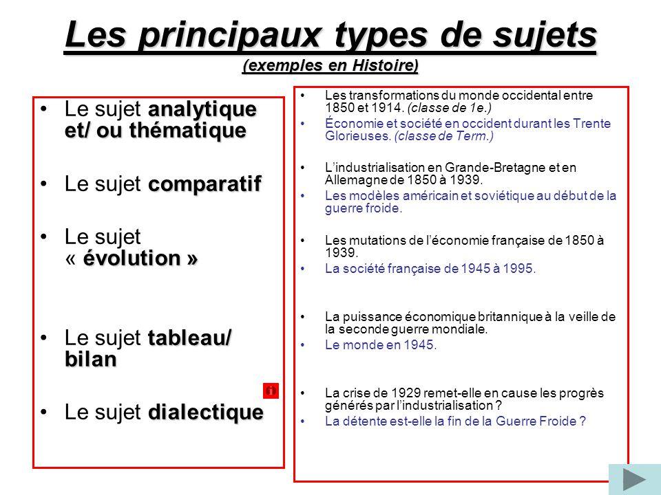 Les principaux types de sujets (exemples en Histoire)