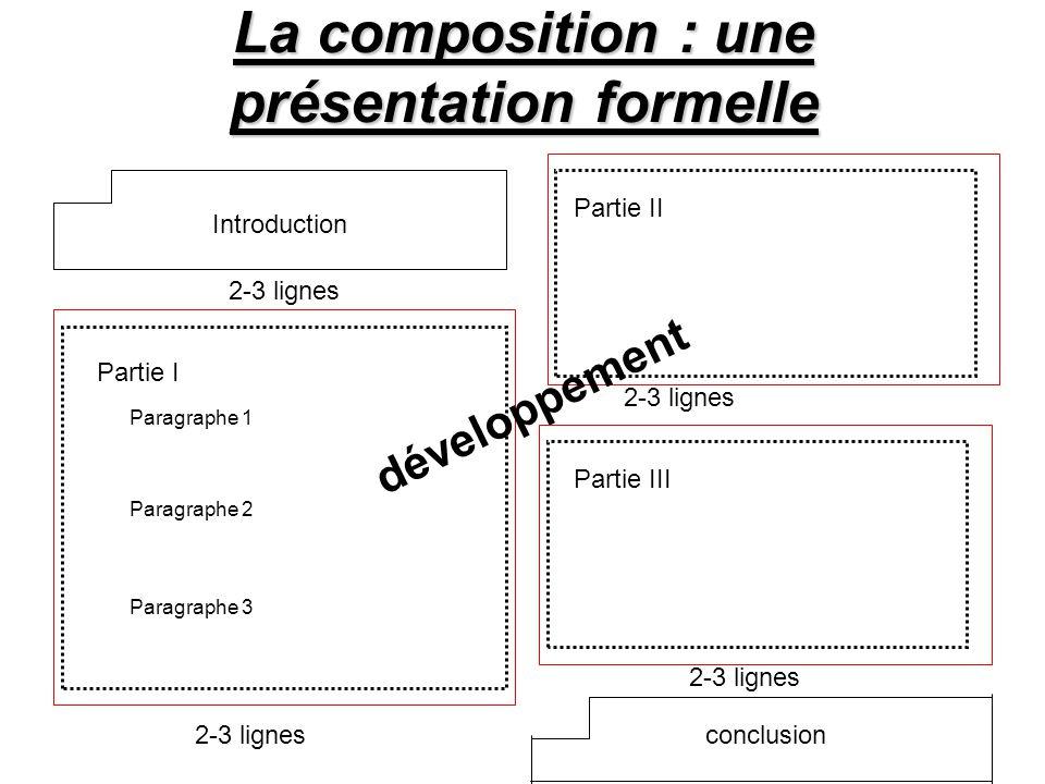 La composition : une présentation formelle