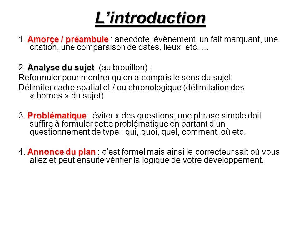 L'introduction 1. Amorçe / préambule : anecdote, évènement, un fait marquant, une citation, une comparaison de dates, lieux etc. …