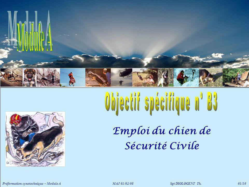 Emploi du chien de Sécurité Civile
