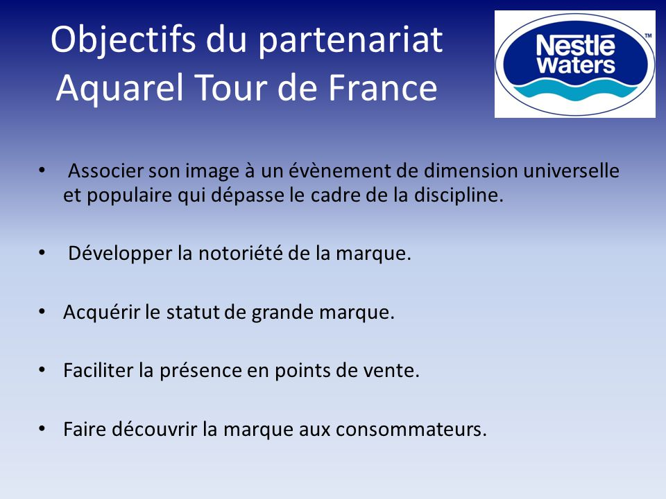 Objectifs du partenariat Aquarel Tour de France