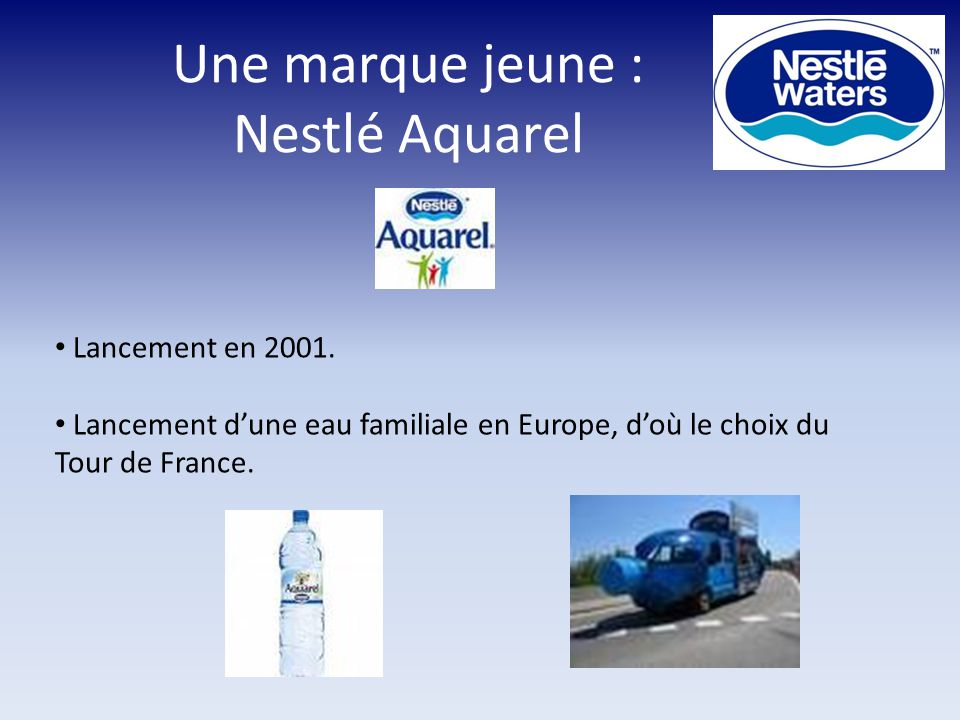 Une marque jeune : Nestlé Aquarel