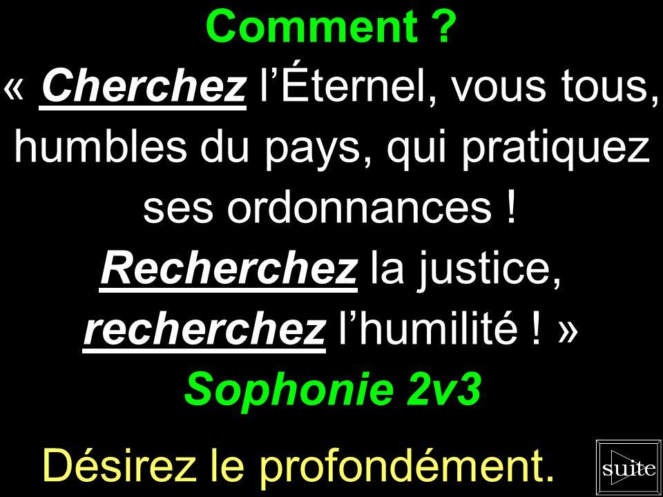 Recherchez la justice, recherchez l'humilité ! » Sophonie 2v3