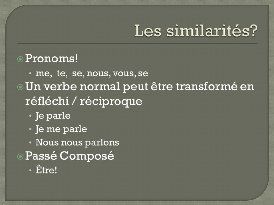 Les similarités Pronoms!