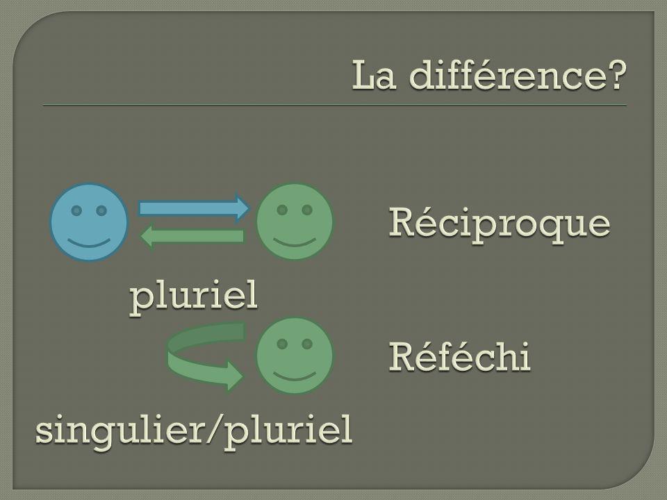 La différence Réciproque Réféchi pluriel singulier/pluriel
