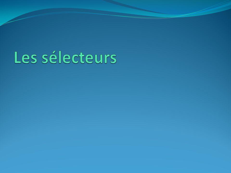 Les sélecteurs