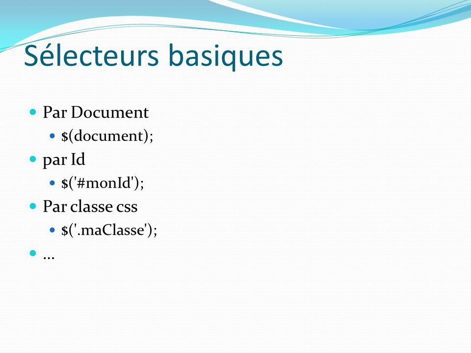 Sélecteurs basiques Par Document par Id Par classe css … $(document);