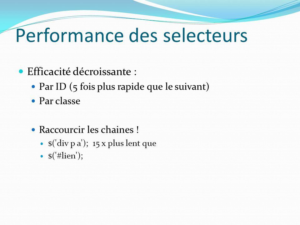 Performance des selecteurs