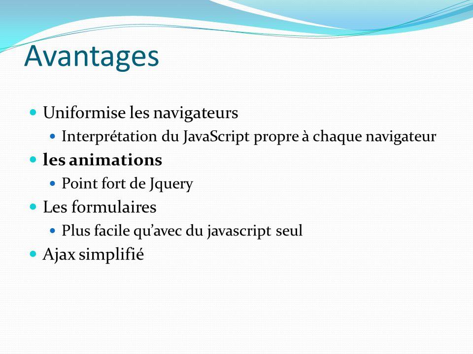 Avantages Uniformise les navigateurs les animations Les formulaires