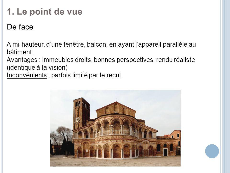 1. Le point de vue De face. A mi-hauteur, d'une fenêtre, balcon, en ayant l'appareil parallèle au bâtiment.