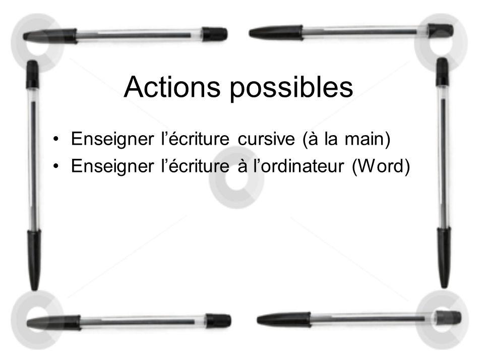 Actions possibles Enseigner l'écriture cursive (à la main)