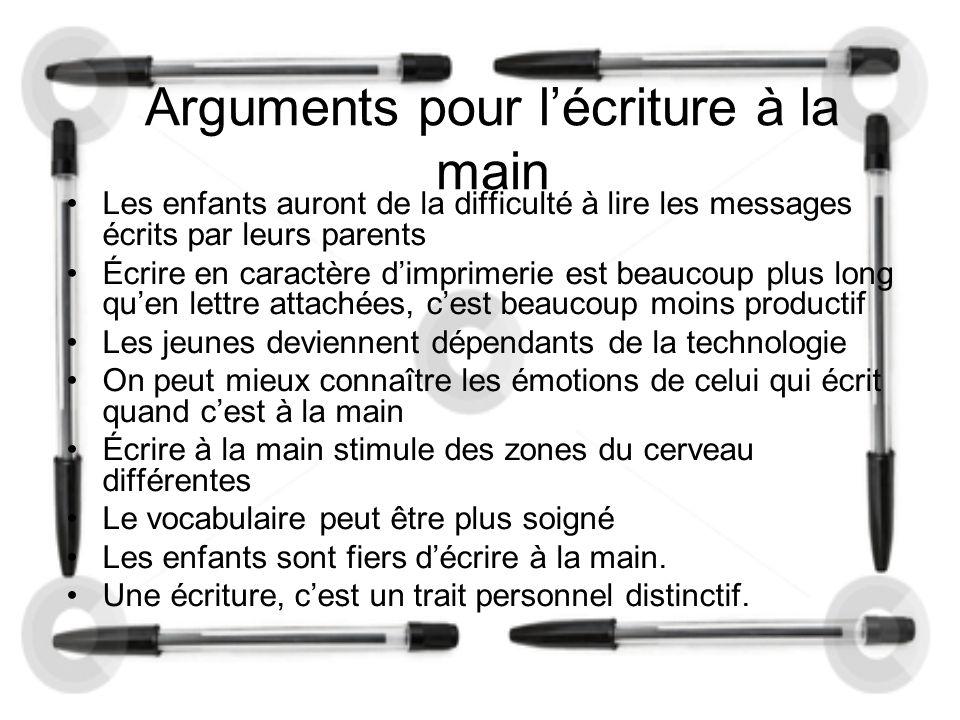 Arguments pour l'écriture à la main