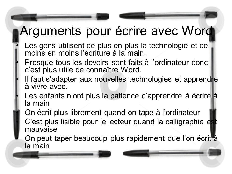 Arguments pour écrire avec Word